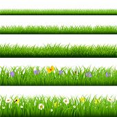 picture of butterfly flowers  - Big Grass Set With Butterfly And Flowers With Gradient Mesh - JPG