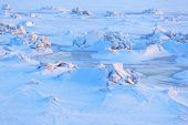 image of desert christmas  - Invoice of blue ice and hummocks of the Arctic desert - JPG