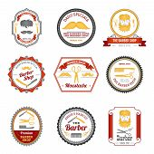 picture of grooming  - Barber shop hair beard and mustache grooming emblems colored set isolated vector illustration - JPG
