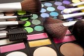 picture of  eyes  - Makeup brushes and makeup eye shadows - JPG