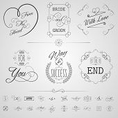 stock photo of calligraphy  - Calligraphy design elements wedding card invitation scrolls set isolated vector illustration - JPG