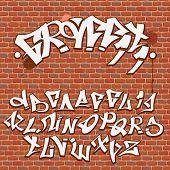 image of graffiti  - Graffiti font alphabet on the brick wall - JPG