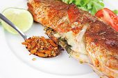 stock photo of plate fish food  - savory on plate  - JPG