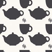 pic of teapot  - Silhouette of teapot and tea cup seamless pattern in vector - JPG
