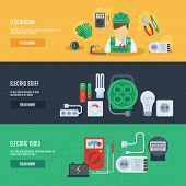 picture of electrician  - Electricity horizontal banner set with electrician electro stuff flat elements isolated vector illustration - JPG