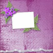 pic of mother-of-pearl  - Greeting card with beautiful branch orchid and pearls for a wedding or birthday - JPG