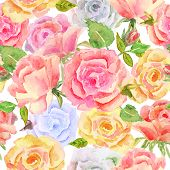 foto of blue rose  - Abstract seamless watercolor hand painted background - JPG