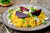 foto of millet  - spiced millet porridge with beetroot coriander mint and feta - JPG