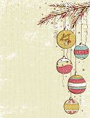Beige Christmas Background With Christmas Balls, Vector