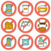 foto of milk products  - Set of modern cute cartoon hand drawn icons with products containing lactose - JPG