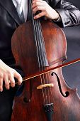 foto of cello  - Man playing on cello close up - JPG