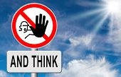 picture of wise  - stop think act making a wise decision safety first sleep it over and use your brain  - JPG