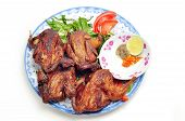stock photo of quail  - Vietnamese grilled quail on a white background - JPG
