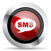pic of sms  - sms red glossy web icon original modern design for web and mobile app on white background  - JPG