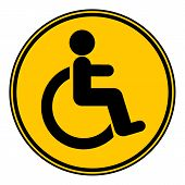 image of disability  - Disabled sign button on white background - JPG