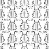 stock photo of musical instrument string  - black an white vintage Harp musical instrument seamless pattern for art and entertainment design - JPG