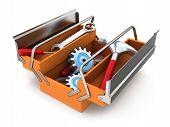 stock photo of rework  - Orange Toolbox on white background  - JPG