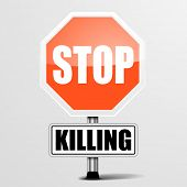 stock photo of kill  - detailed illustration of a red stop Killing sign - JPG