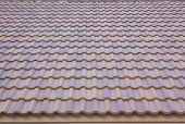 stock photo of gable-roof  - Photos tile roof smooth and seamless - JPG