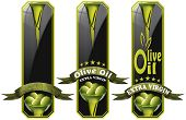 picture of virginity  - Collection of three labels with ribbon green olives and oil text Olive oil and Extra virgin - JPG