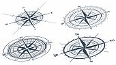 image of compass rose  - Set of compass roses or windroses - JPG