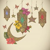 stock photo of moon-flower  - Traditional greeting card with arabic  lantern and flowers - JPG