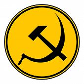 pic of communist symbol  - Hammer and sickle sign button on white background - JPG