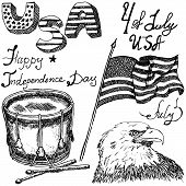 stock photo of eagles  - Usa waving flag bald eagle and drum with drumstiks American symbols fourth of july set Hand drawn sketch text happy independence day isolated on white - JPG