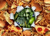 picture of junk  - Diet lifestyle change concept and breaking out and escape from unhealthy habits of eating fatty junk food towards green vegetables and fruit as a ripped and burst hole in the paper revealing healthy nutritious garden fresh produce - JPG