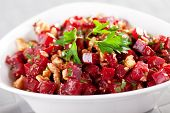 image of cilantro  - Healthy salad from beet root walnut and cilantro - JPG