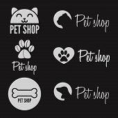 stock photo of petting  - Set of vintage and modern logo and elements for pet shop - JPG