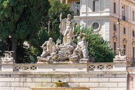 foto of trident  - Fountain of Neptune is a monumental fountain located in the Piazza del Popolo in Rome - JPG