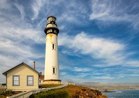 stock photo of pigeon  - California Pigeon point Lighthouse in Cabrillo Hwy coastal highway State Route 1 - JPG