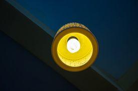 stock photo of lamp shade  - a Beautiful Carved Ceramic Lamp Shade  - JPG
