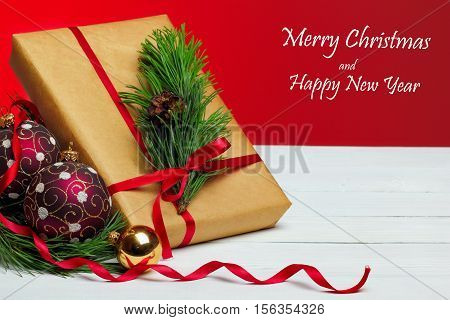 Gifts And Balls On Red Background.christmas Greeting Card.red Background