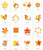vector illustration of abstract fall icons