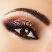 stock photo of eyebrow  - Woman eye with beautiful makeup - JPG