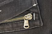 pocket with zipper of fashionable dark gray jeans