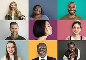 Diverse Group People Photo Collage Concept poster