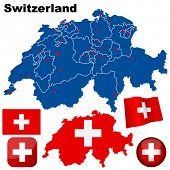 Switzerland vector set. Detailed country shape with region borders, flags and icons isolated on white background.