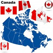 Canada vector set. Detailed country shape with region borders, flags and icons isolated on white background.