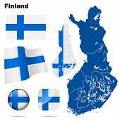 Finland vector set. Detailed country shape with region borders, flags and icons isolated on white ba