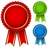 stock photo of rosettes  - Blank award ribbon rosettes in three colors isolated on white - JPG