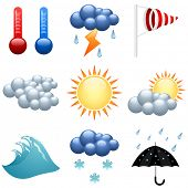 stock photo of wind-vane  - Weather icons set  for forecast web pages - JPG
