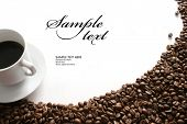 pic of cup coffee  - Coffee cup  and grain on white background - JPG