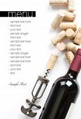 Winery menu project. Bottle of red wine, corks and old corkscrew. Space for text isolated on white.