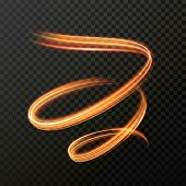 Glowing fire swirl spiral. Vector abstract light speed motion effect. Light trace effect. Glow lumin poster