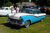 HAAPSALU, ESTONIA - JULY 18: American Beauty Car Show, showing white and blue 1956 Ford Fairlane 2D