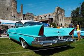 HAAPSALU, ESTONIA - JULY 18: American Beauty Car Show, showing blue 1957 Lincoln Premiere Coupe 2D H