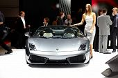 PARIS, FRANCE - SEPTEMBER 30: Paris Motor Show on September 30, 2010, showing Lamborghini Gallardo L